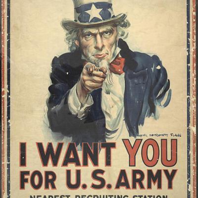 """山姆大叔的第一次世界大战海报指着观众,上面写着""""我要你/美国陆军/最近的招募站"""""""