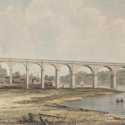Landscape of a river and surrounding banks. Two figures stand on the closest bank, and a tall aqueduct is visible behind them