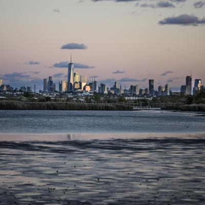 New York from the marshes around the Hackensack River in New Jersey