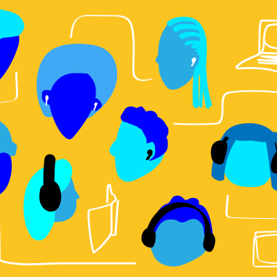 Graphic showing many heads, some with headphones, and various devices such as laptops, phones, and tablets