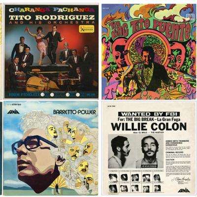 Les couvertures de huit albums de musique de salsa populaires disposés dans une grille