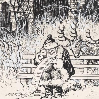 Carte de Noël dessinée à la main, 1945