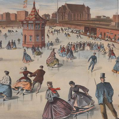 Mid-1800s print of people ice skating on a large rink. City buildings are visible in the background.