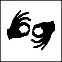 Gráfico que muestra las dos manos: el símbolo de la interpretación del lenguaje de señas.