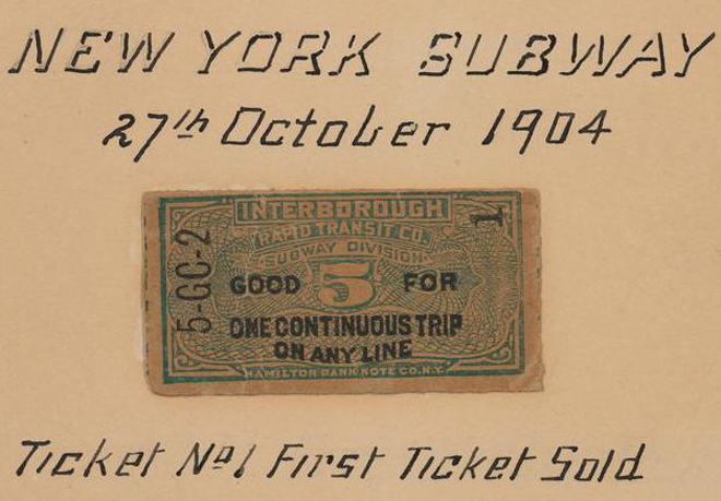 New York Subway. Ticket No. 1, First Ticket Sold, 1904, in the Infrastructure Collection. Museum of the City of New York, 35.51.1