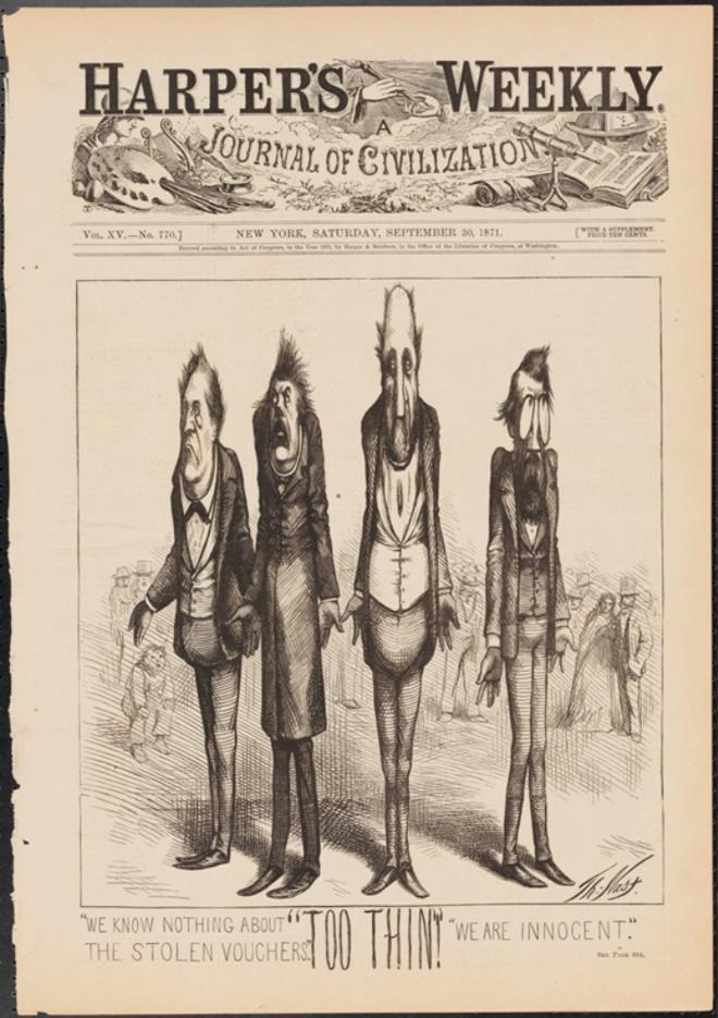 Thomas Nast (1840-1902). Trop mince, 1871. Musée de la ville de New York. 99.124.15