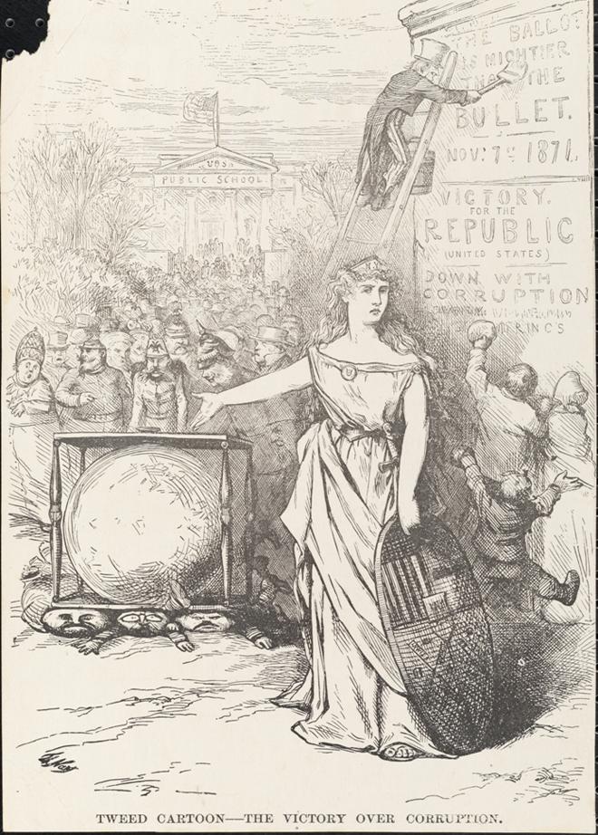 Thomas Nast (1840-1902). Vitória sobre a corrupção. 1871. Museu da cidade de Nova York. x2011.5.528