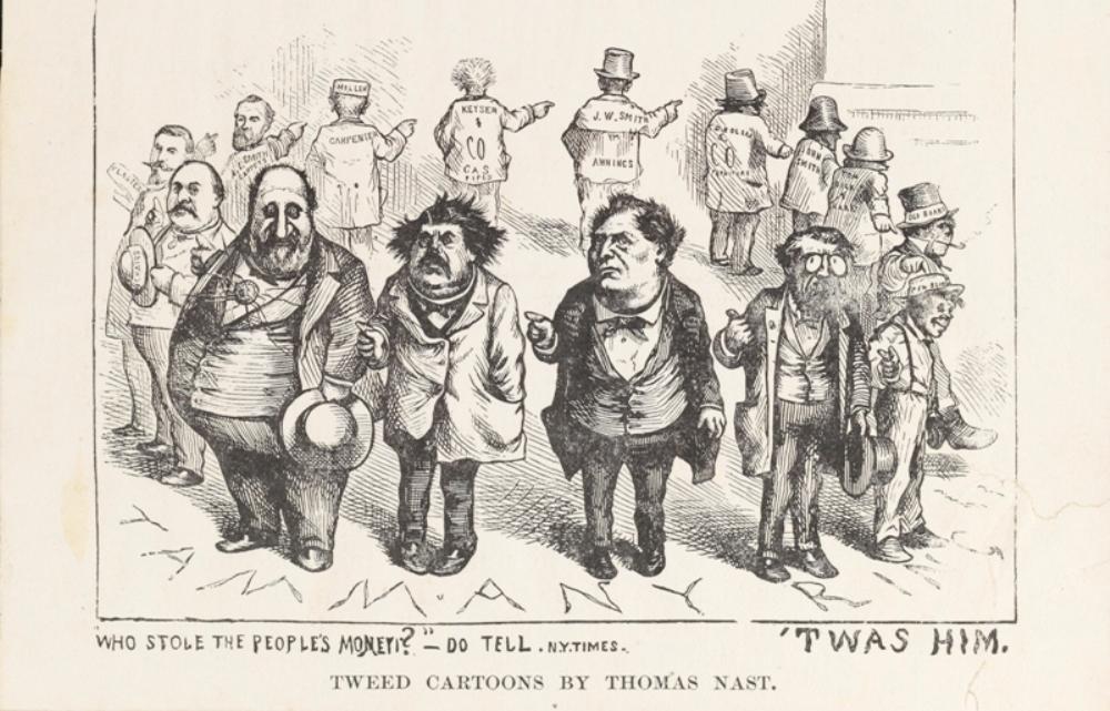 Thomas Nast (1840-1902). Duas ótimas perguntas. 1871. Museu da cidade de Nova York. x2011.5.533